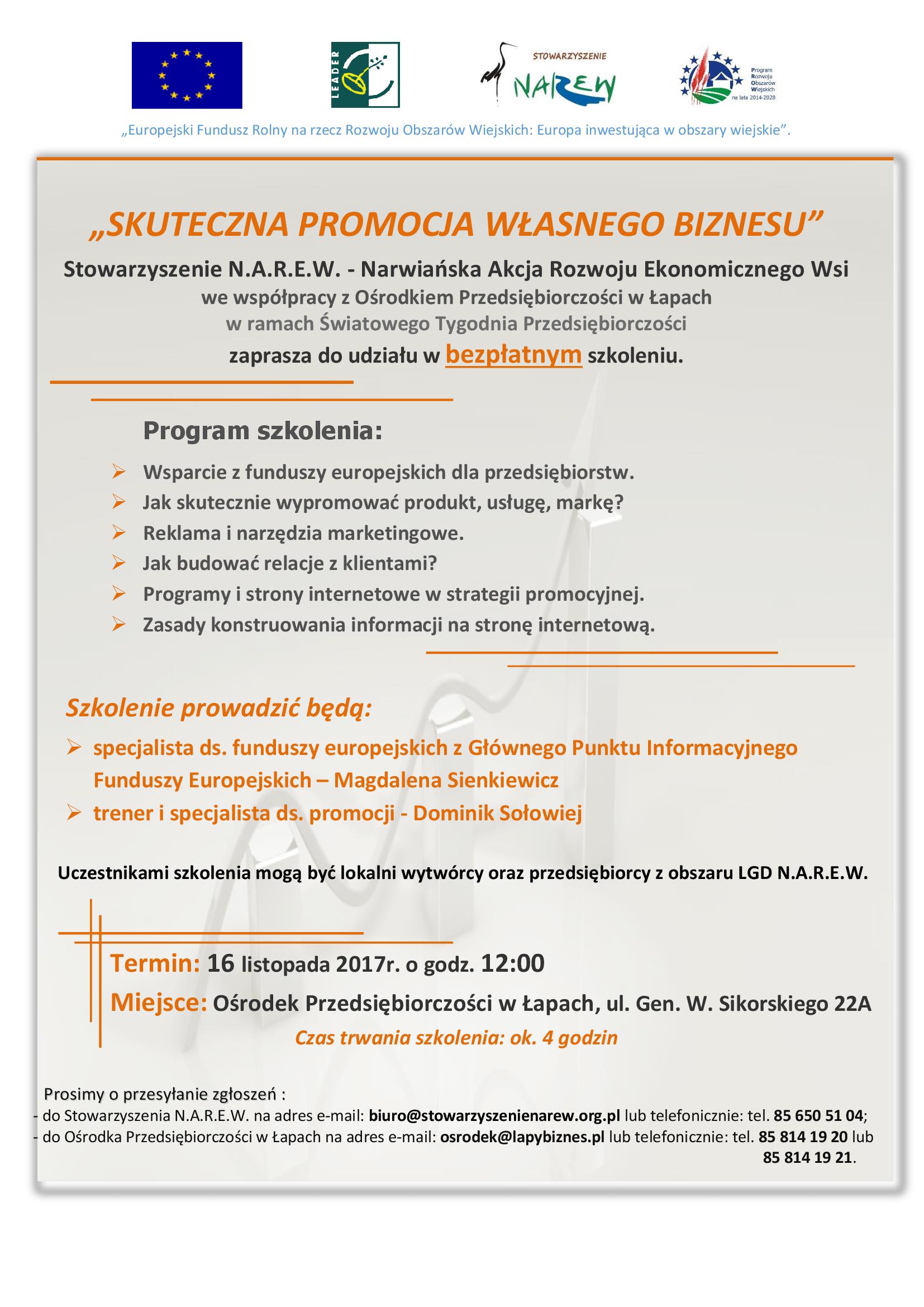 Bezpłatne szkolenie pt.˝Skuteczna promocja  własnego biznesu˝
